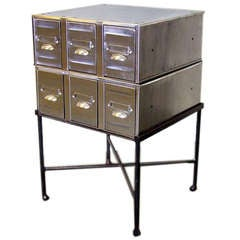 Polished Vintage Steel Drawers on a New Stand, England