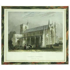 Six Antique Framed Engravings, Hand-Colored of Carlisle Cathedral, England
