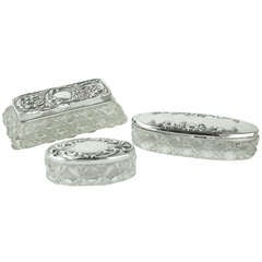 Three Antique English Hallmarked Silver and Crystal Trinket Boxes