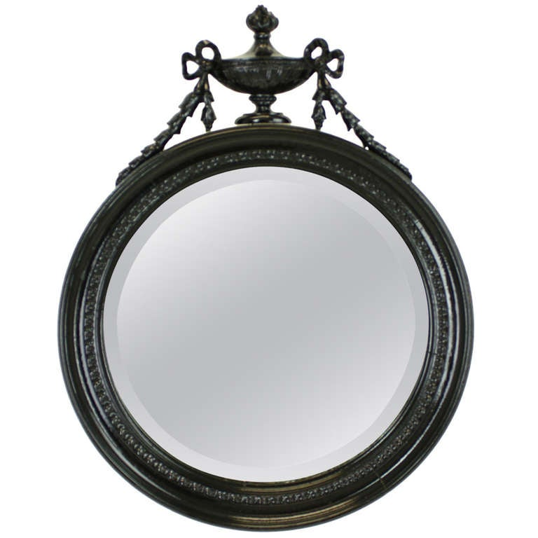 Victorian round black decorative mirror at 1stdibs for Round black wall mirror