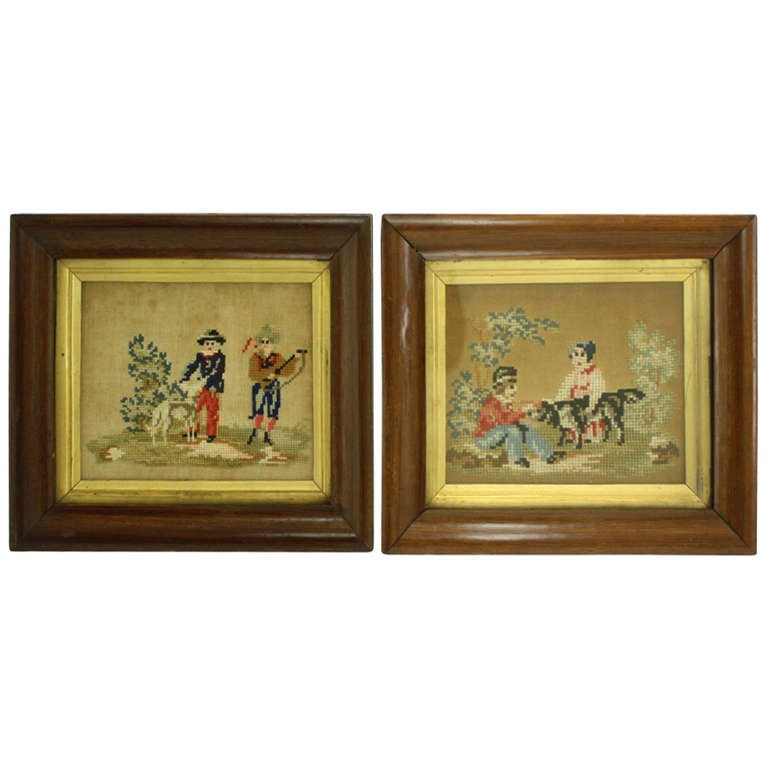 Pair of Early English Needlepoints of Dogs, Original Frames