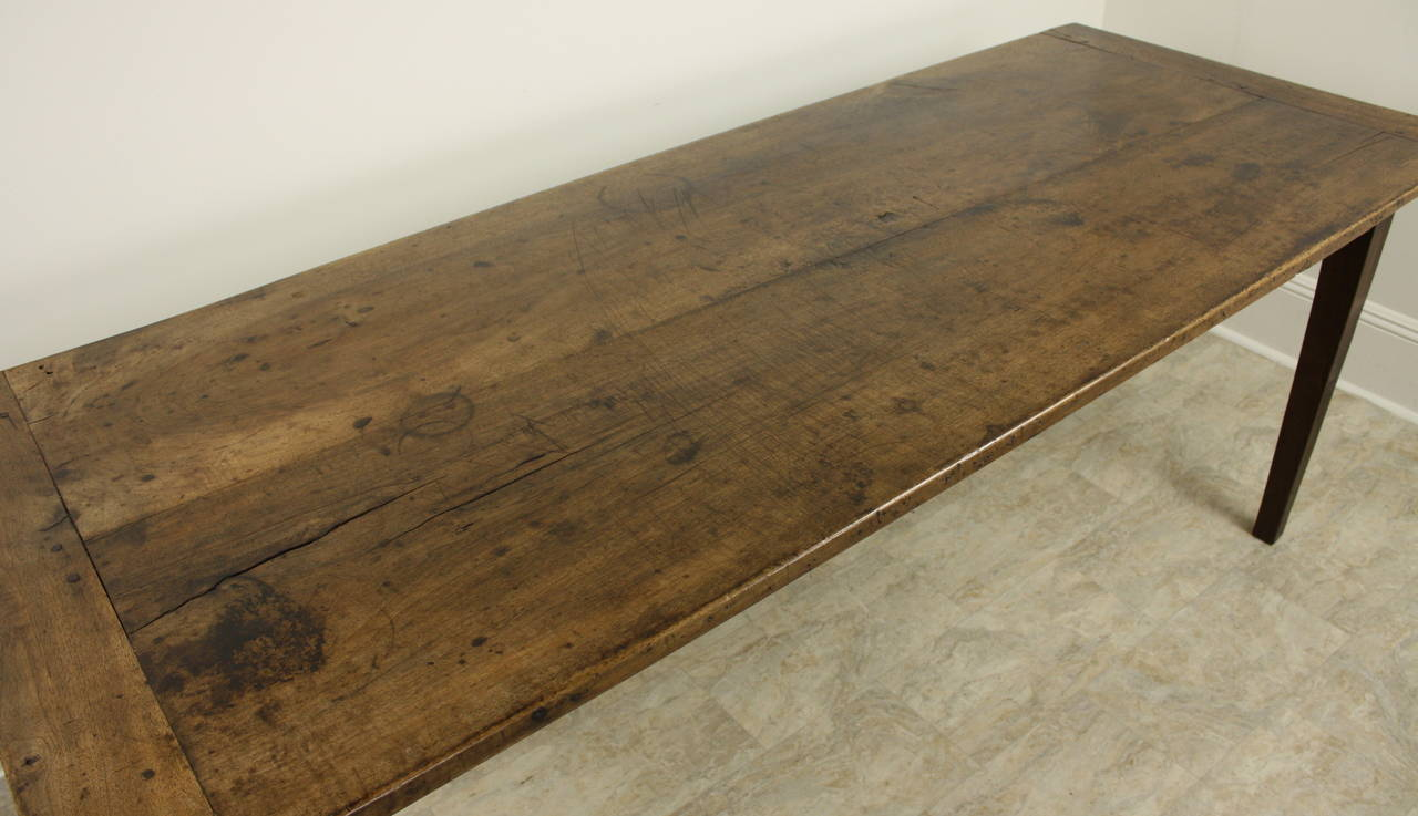 Antique French Walnut Farmhouse Table Two Plank Top At