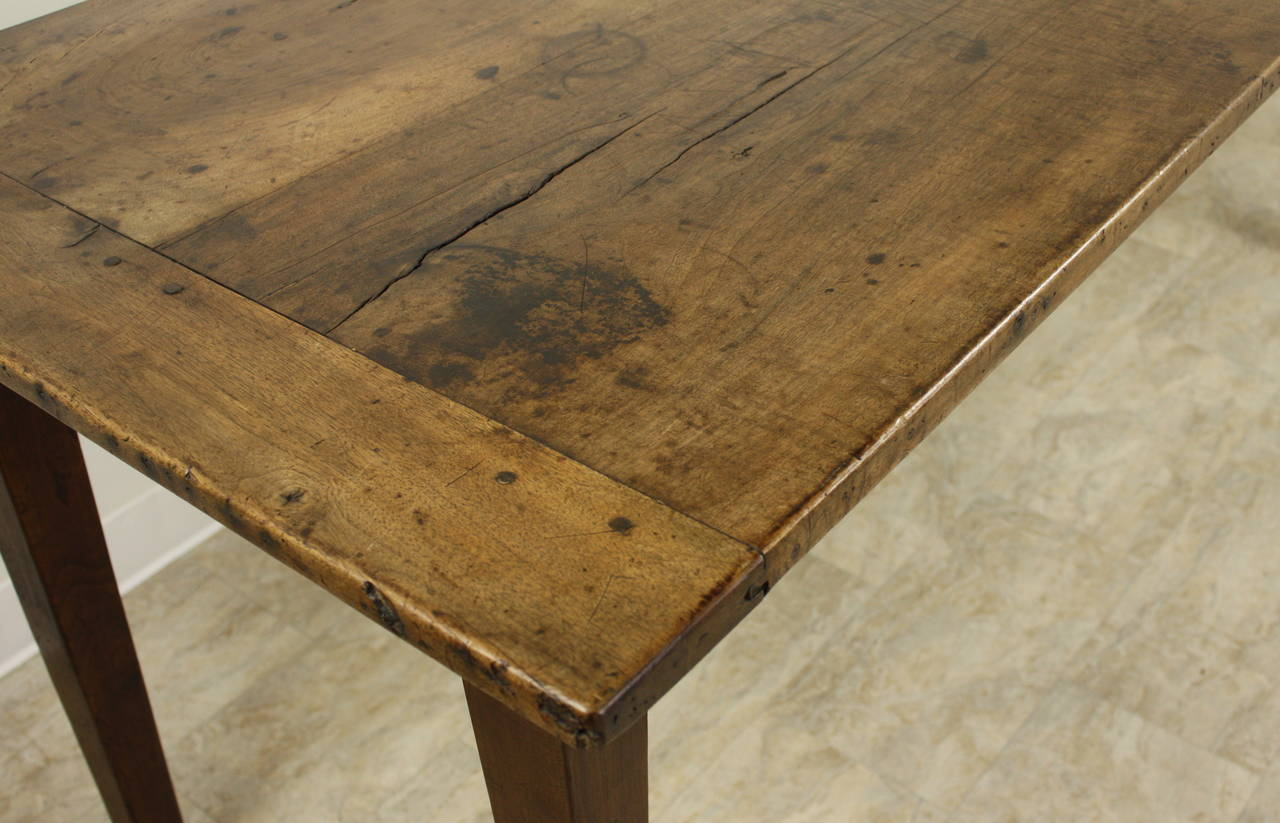 Antique French Walnut Farmhouse Table Two Plank Top At 1stdibs