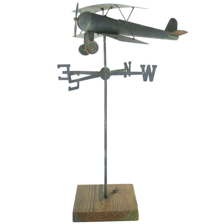 Vintage Wooden Weathervanes: Old English Airplane Weathervane At 1stdibs