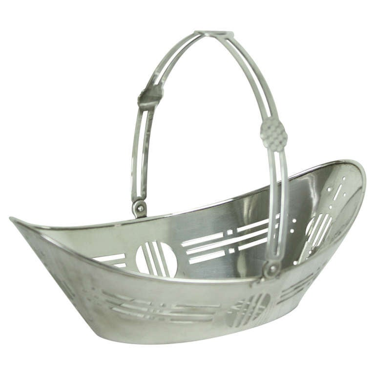 Art Baskets For Sale : English art deco silver plate basket for sale at stdibs