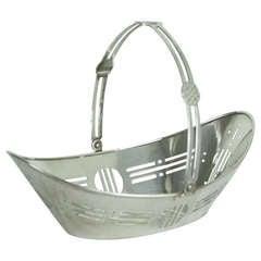 English Art Deco Silver Plate Basket