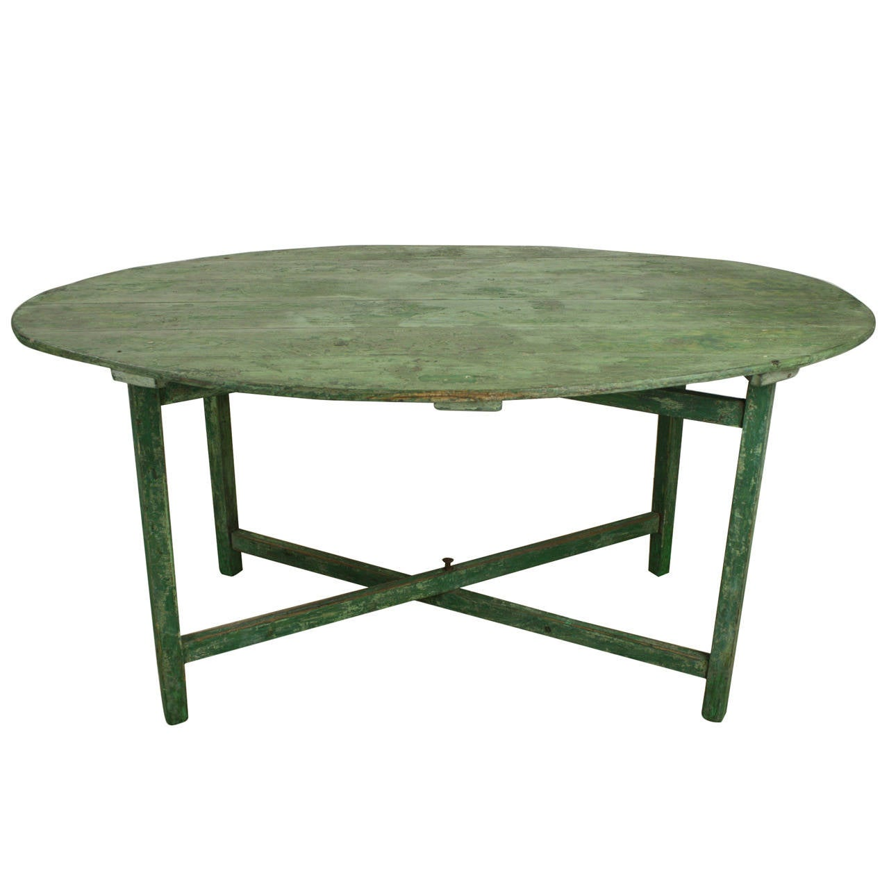 Antique french green painted oval vendange table for sale at 1stdibs - Antique french dining tables ...