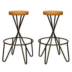 Pair Of Wrought Iron And Wood Bar Stools