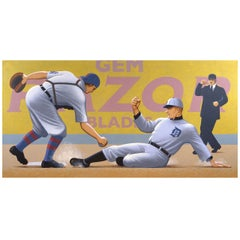 """Ty Cobb: Out at Home Plate"" Painting by Lynn Curlee"
