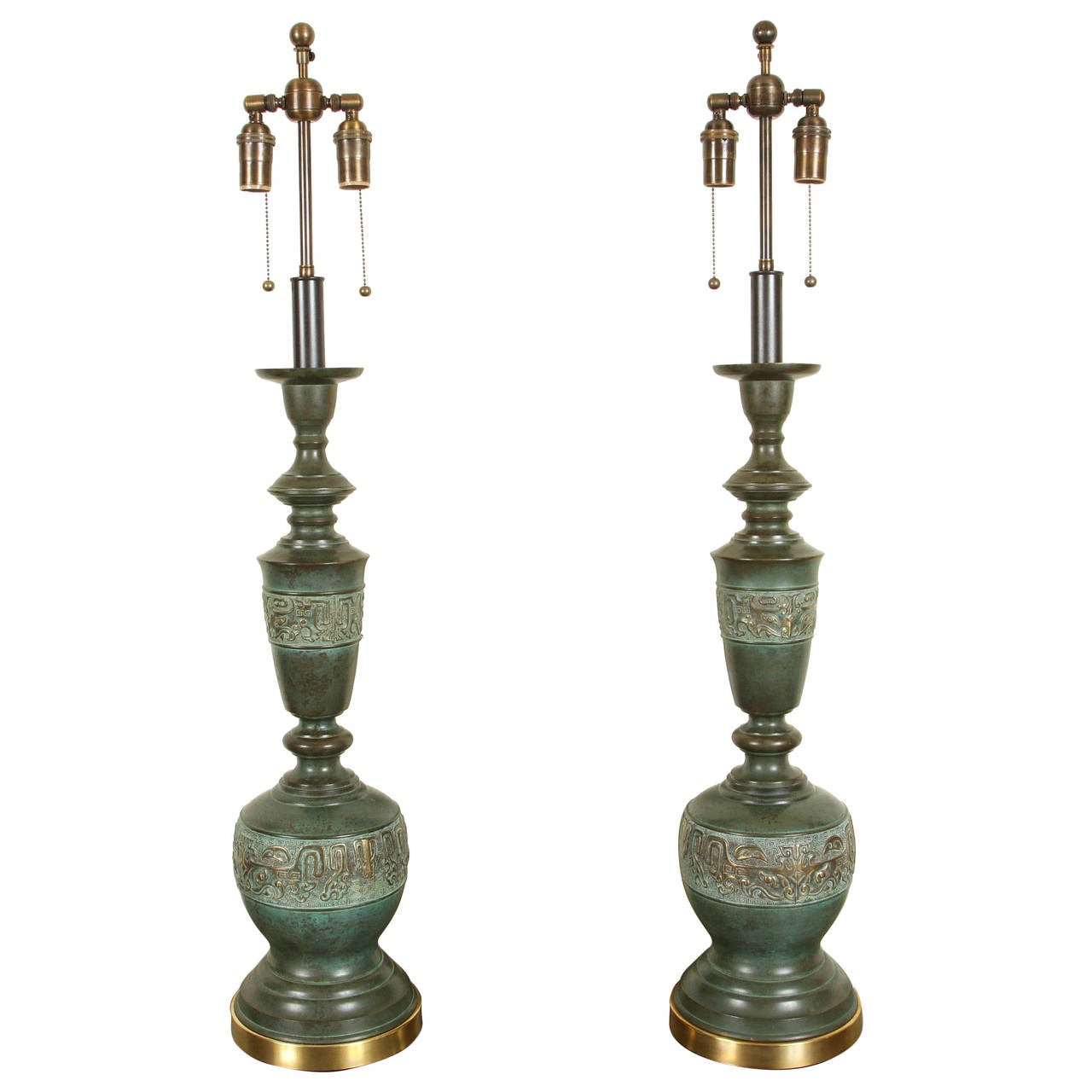 Pair Of Metal Table Lamps With A Verdigris Bronze Finish By Marbro 1