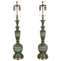 Pair of Metal Table Lamps with a Verdigris Bronze Finish by Marbro