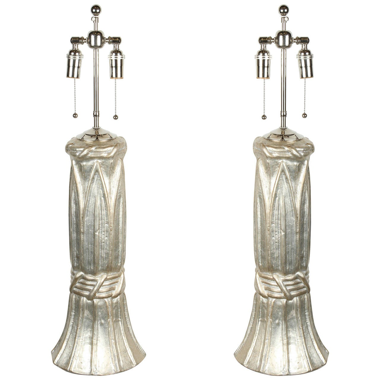 Stunning Pair of Table Lamps with a Glazed Silver Leaf Finish