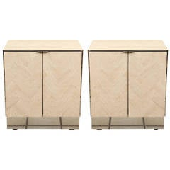 Pair of Polished Travertine Cabinets by Ello