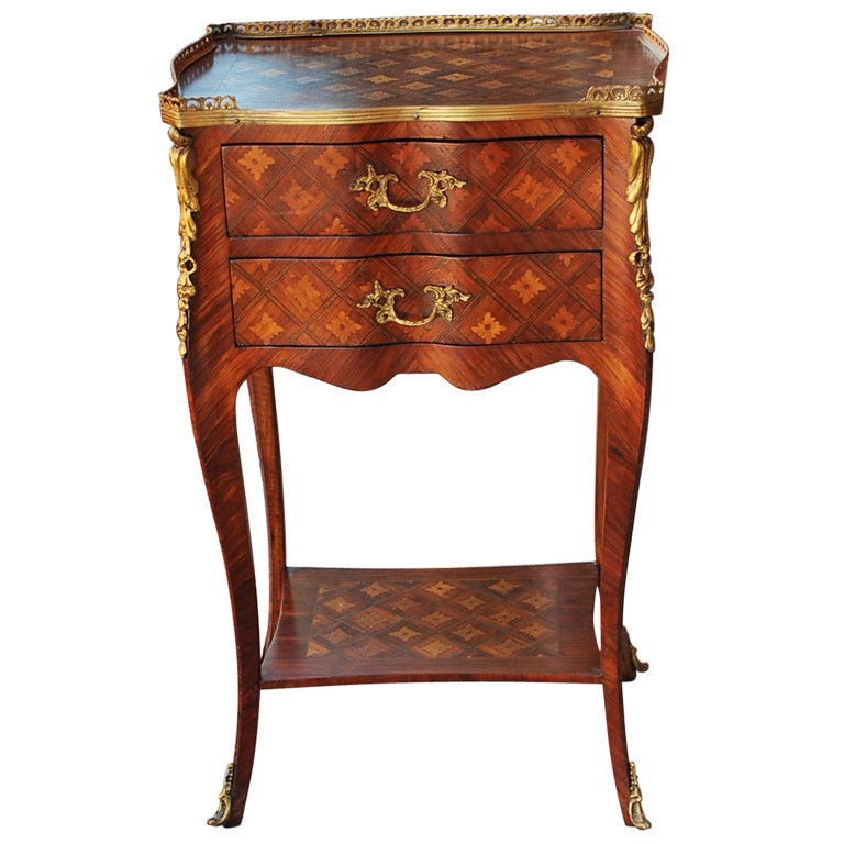Louis XV Style French Inlaid Wood Side Table 1