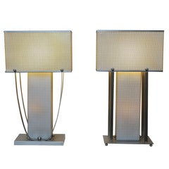 Faux Pair Matching 70's Silver Chrome Table Lamps
