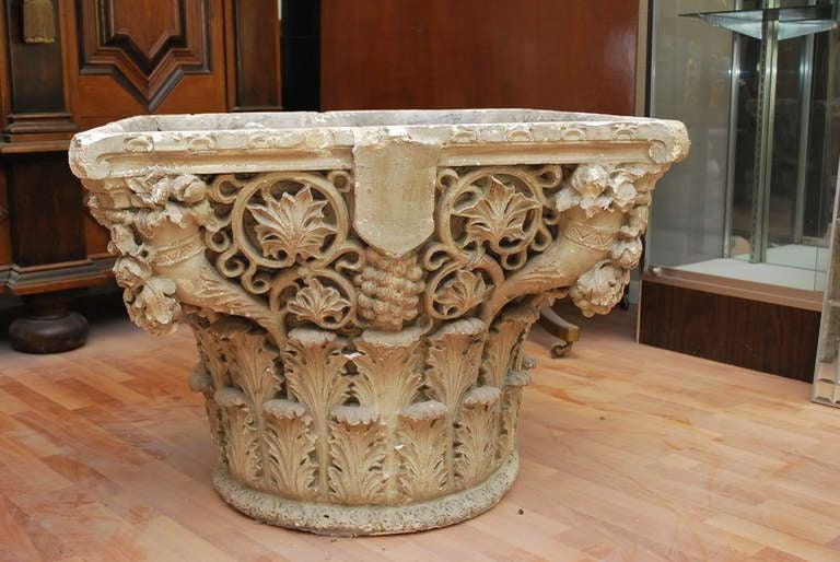 19th C Corinthian Plaster Base With Wooden Faux Finish  : fauteuilscorinthiantableron030813096l from 1stdibs.com size 768 x 514 jpeg 61kB