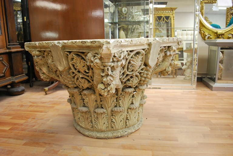 19th C Corinthian Plaster Base With Wooden Faux Finish  : fauteuilscorinthiantableron030813103l from www.1stdibs.com size 768 x 514 jpeg 64kB