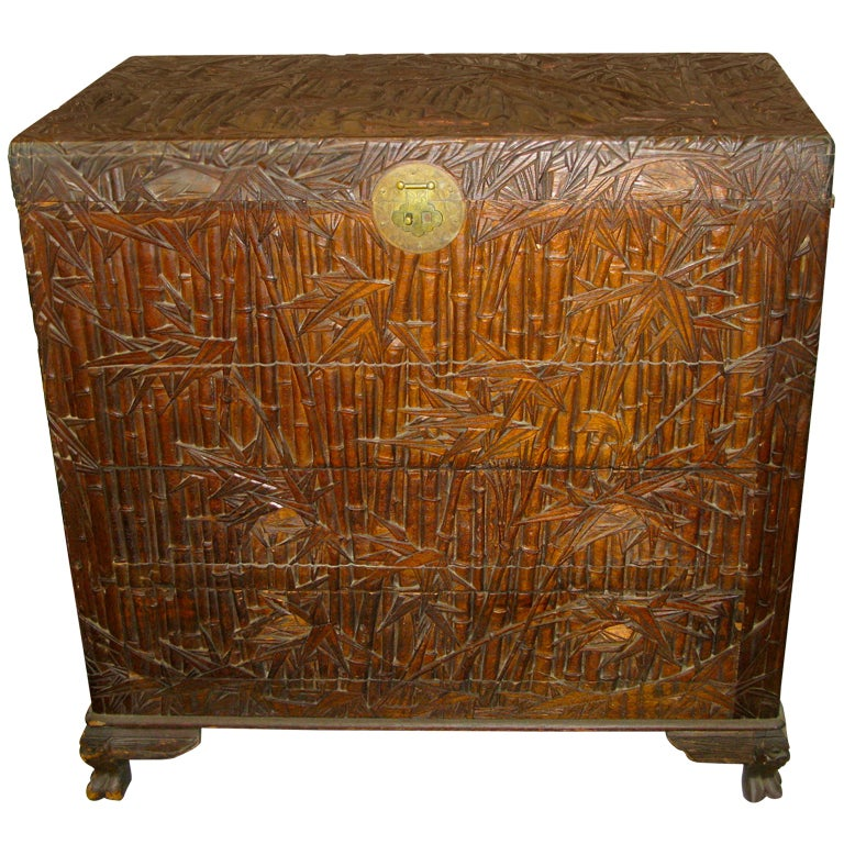 Antique asian chest trunk hand carved bamboo decor at 1stdibs for Hand carved asian furniture