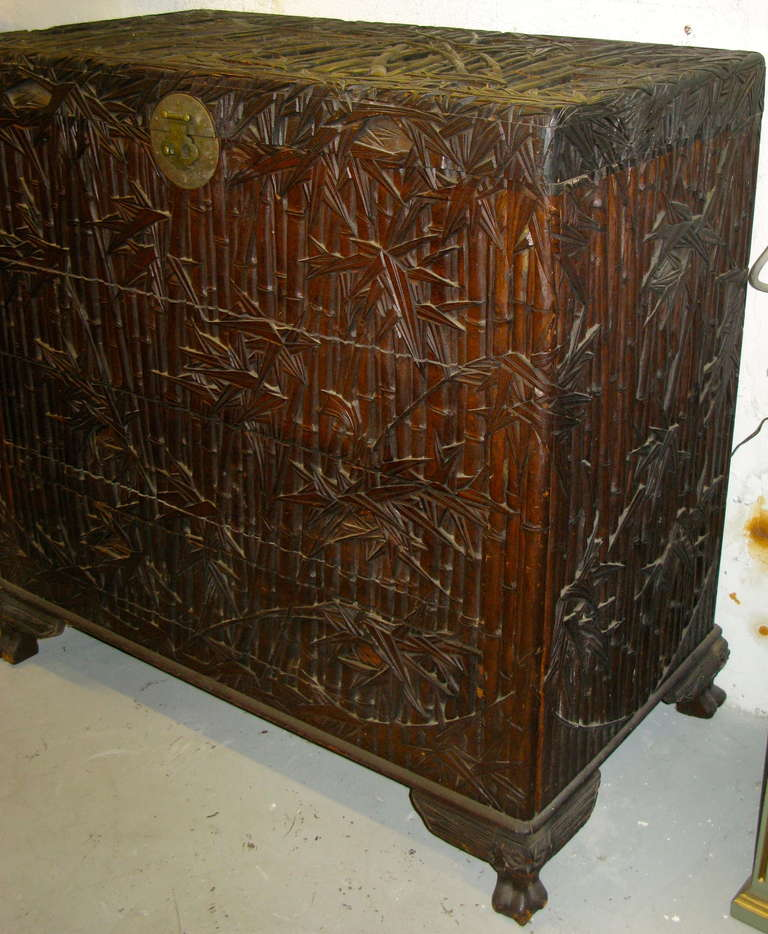 Antique asian chest trunk hand carved bamboo decor at 1stdibs for Asian antiques west palm beach