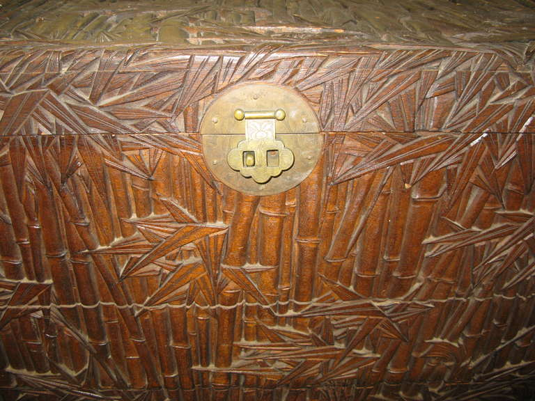 Antique Asian Chest Trunk Hand Carved Bamboo Decor At 1stdibs