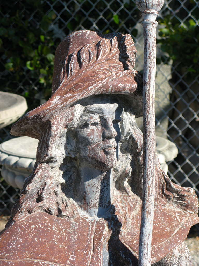 Antique English Circa 1920 S Lead Conquistador Garden