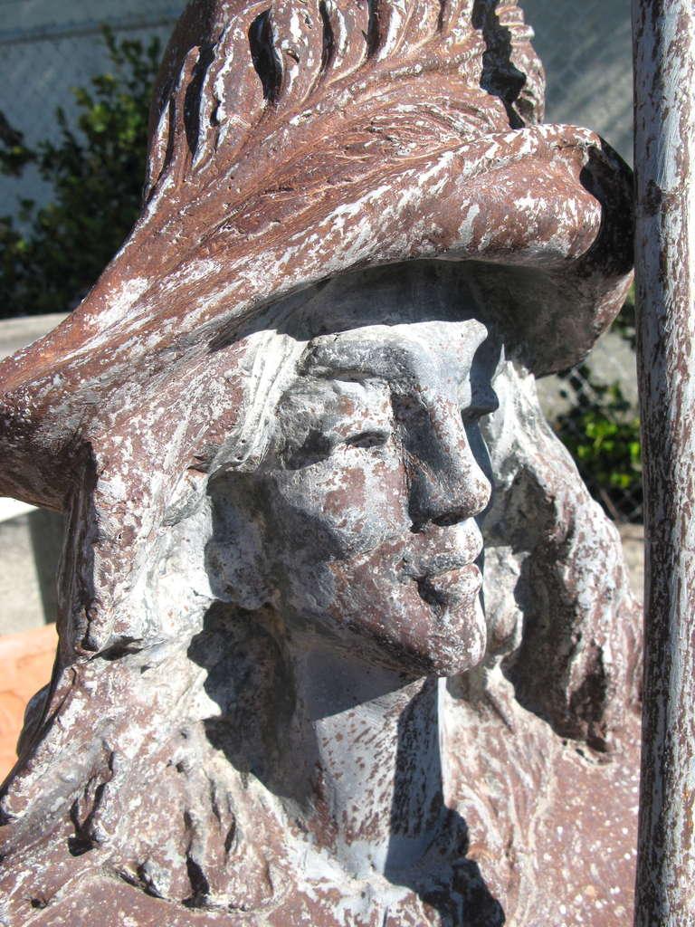 Old Garden Statue: Antique English Circa 1920's Lead Conquistador Garden