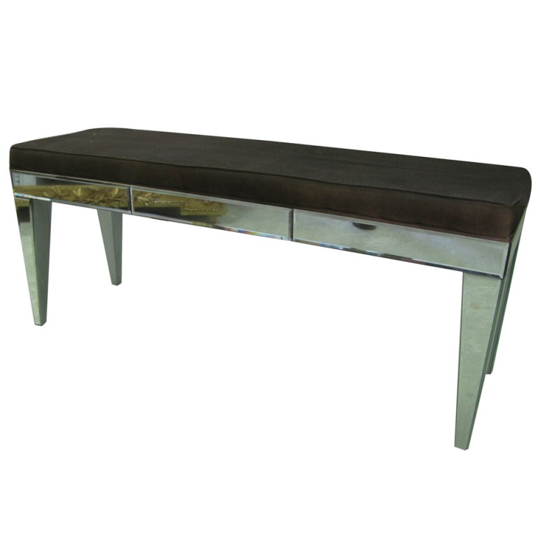Long mirrored upholstered bench at 1stdibs Long upholstered bench