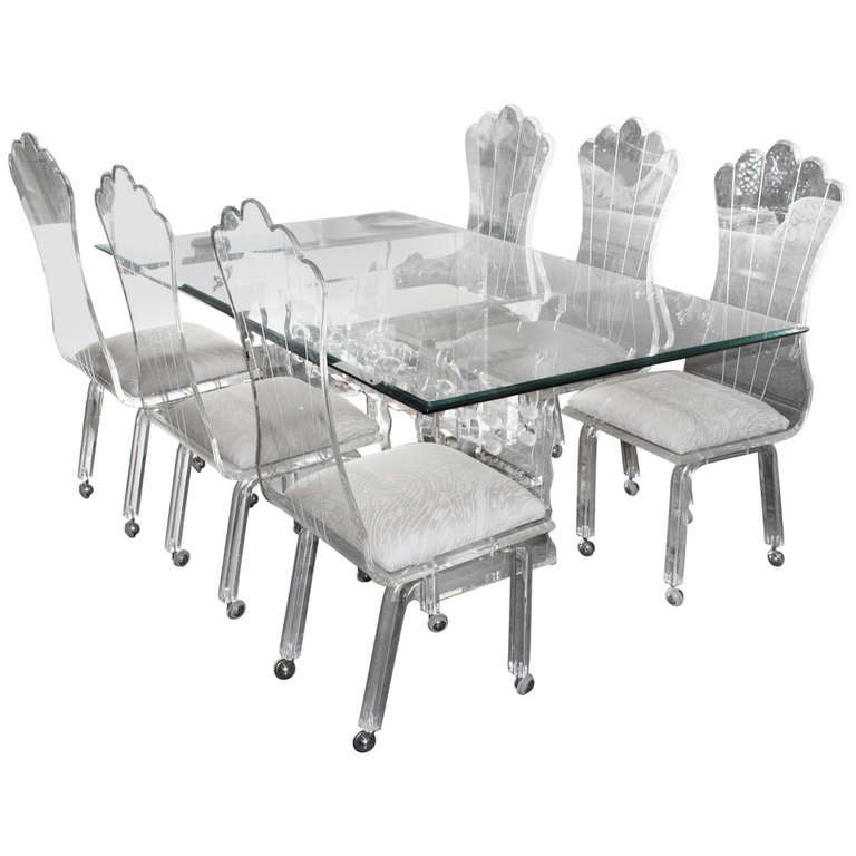 Lucite Dining Table with Six High Back Lucite Chairs on Wheels at ...