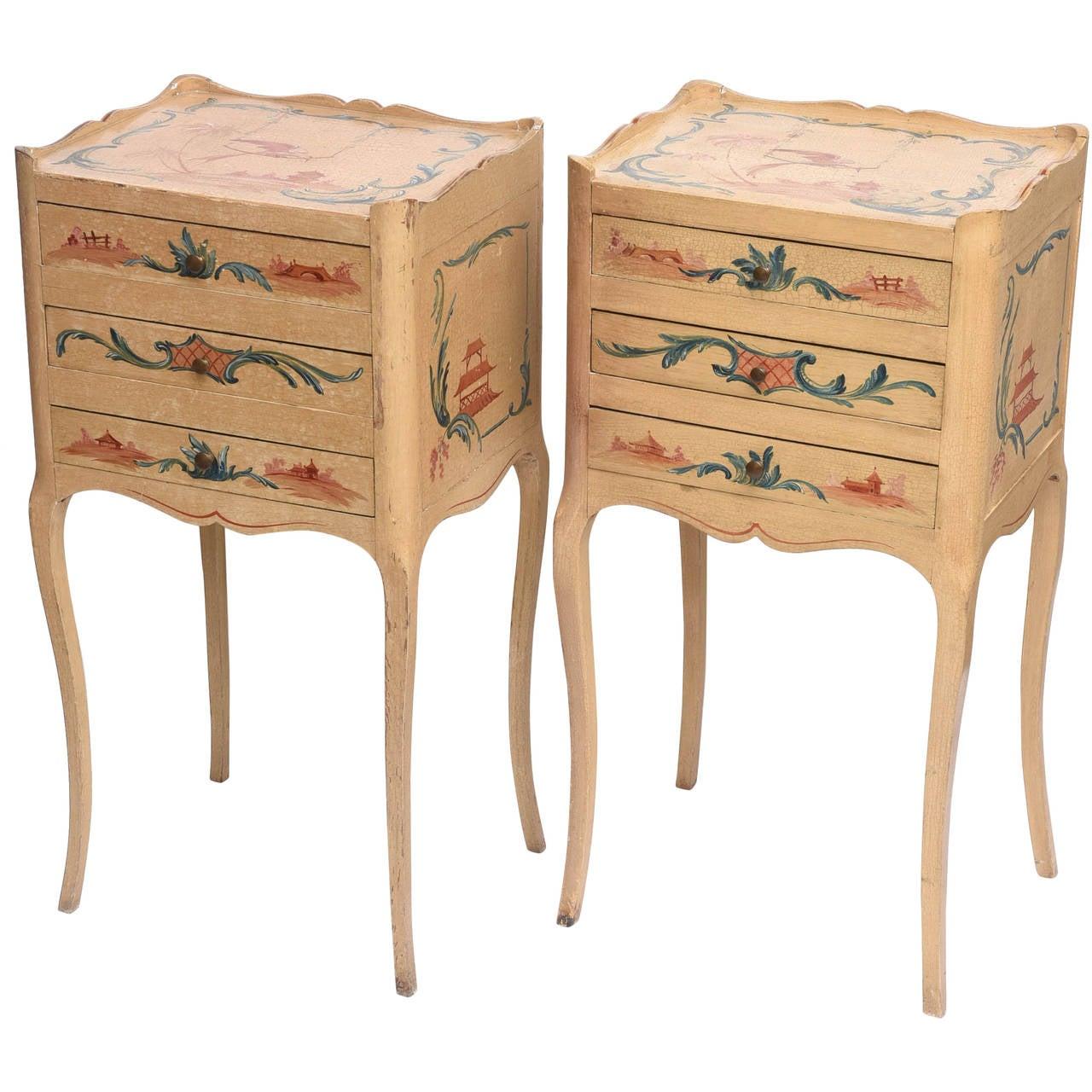Pair of Vintage Chinoiserie Nightstands
