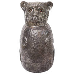 Vintage Silver Plate Teddy Bear Ice Bucket