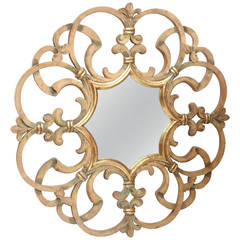 Large Round Scrolled Mirror by Dauphine Mirror Company