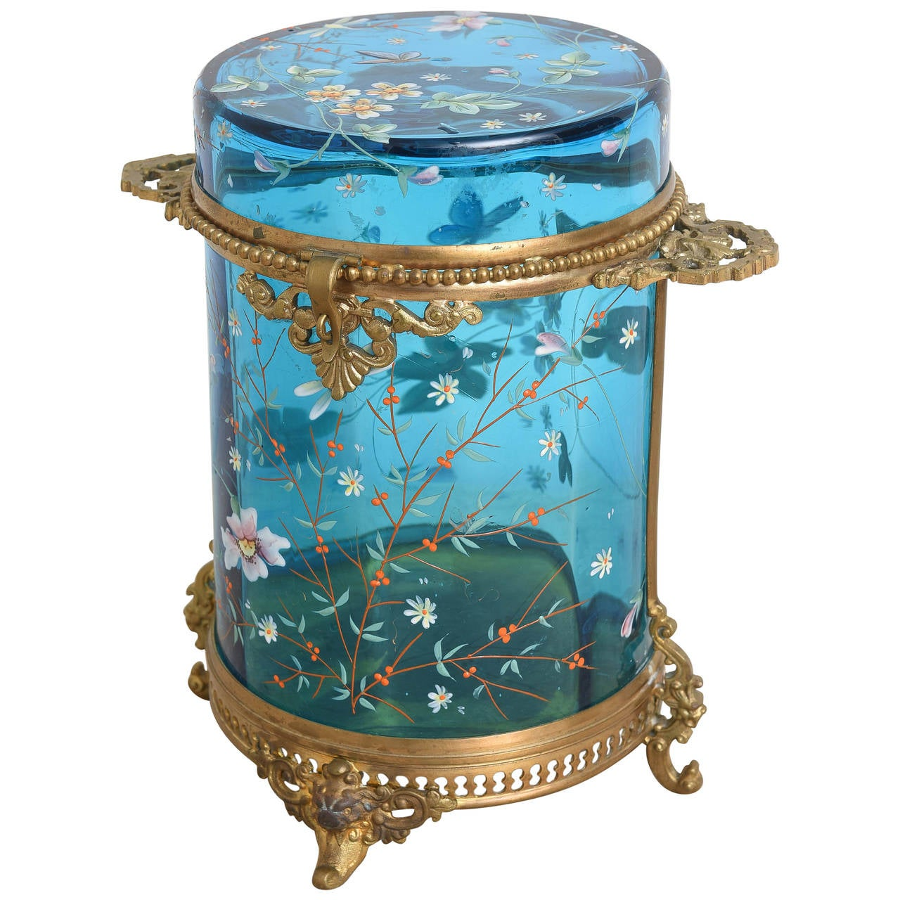 Antique Moser Cylinder Shaped Box