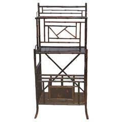 19th Century English Black Lacker Chinoiserie Bamboo Magazine Stand