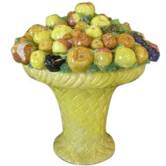 Large Italian Glazed Terra Cotta Fruit Basket