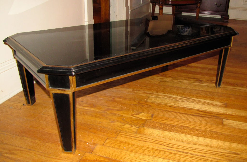 Neoclassic Black And Gold Coffee Table At 1stdibs