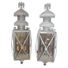 Pair Vintage Copper Outdoor Lanterns