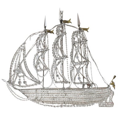 Italian Crystal Ship Chandelier