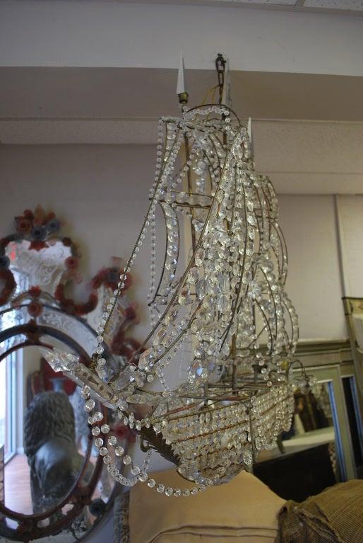 Italian Crystal Ship Chandelier 4