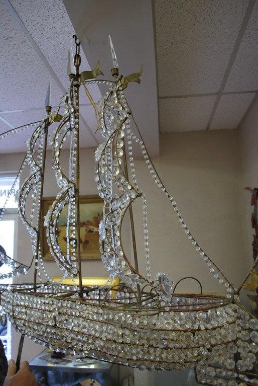 Italian Crystal Ship Chandelier 5