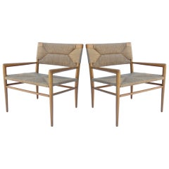 Pair of Smilow-Thielle Walnut and Woven Rush Chairs