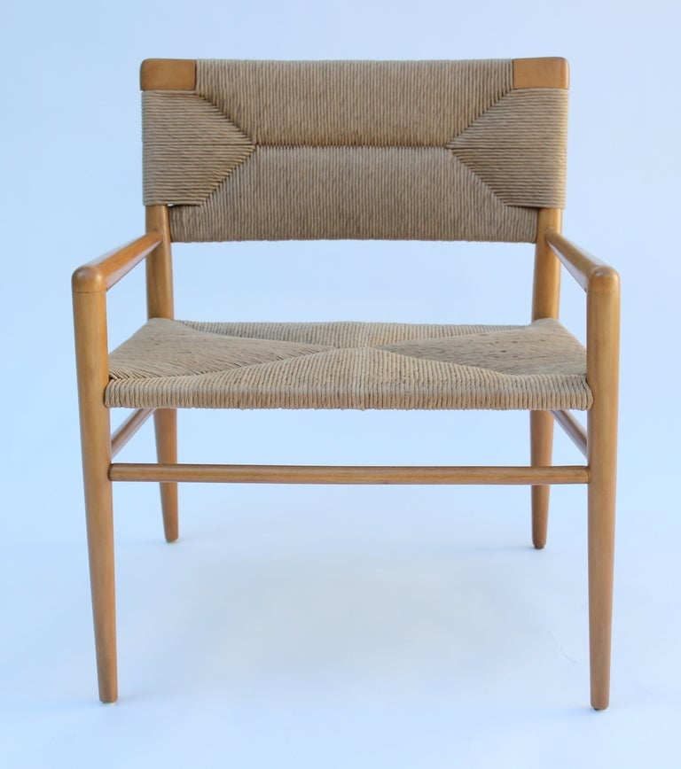 Pair Of Smilow Thielle Walnut And Woven Rush Chairs. Each Sheep Skin Is $200