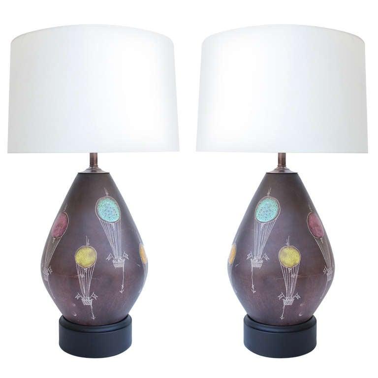 Pair of Italian Ceramic Lamps For Sale