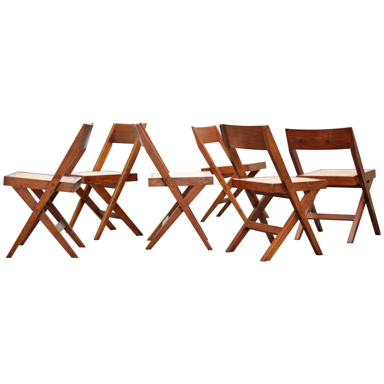 Set of Six Pierre Jeanneret Library Chairs