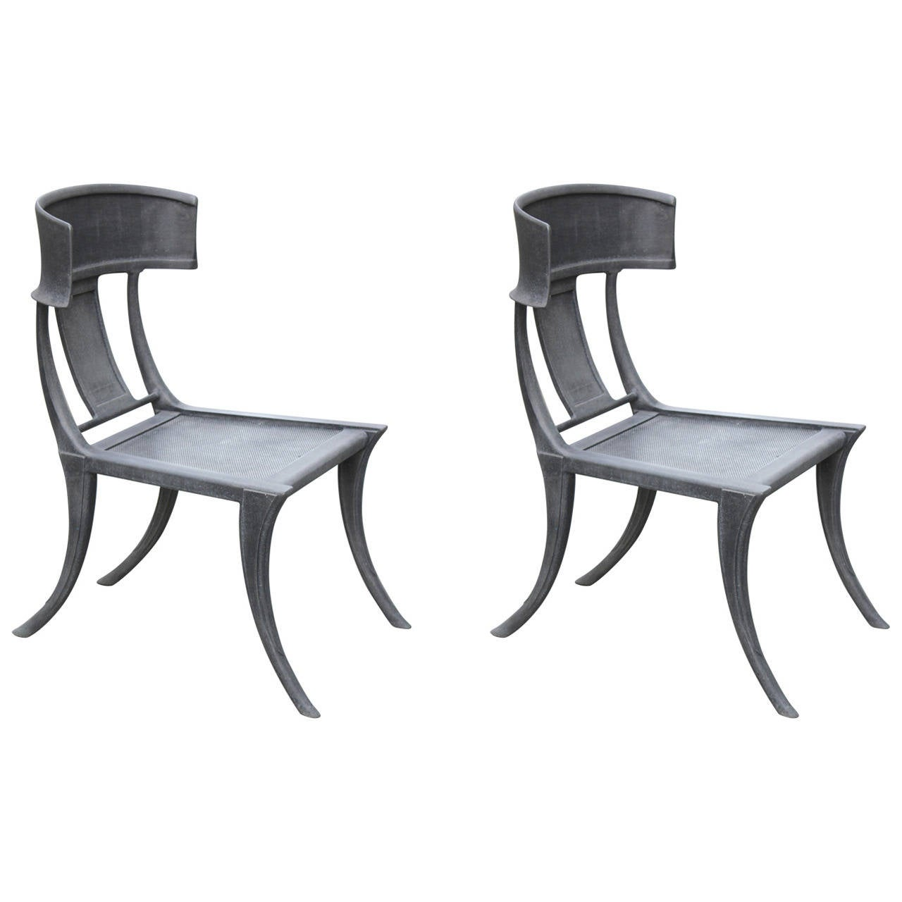 Klismos chair drawing - Pair Of Michael Taylor Cast Aluminum Klismos Chairs 1