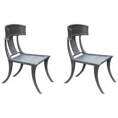 Pair of Michael Taylor Cast Aluminum Klismos Chairs