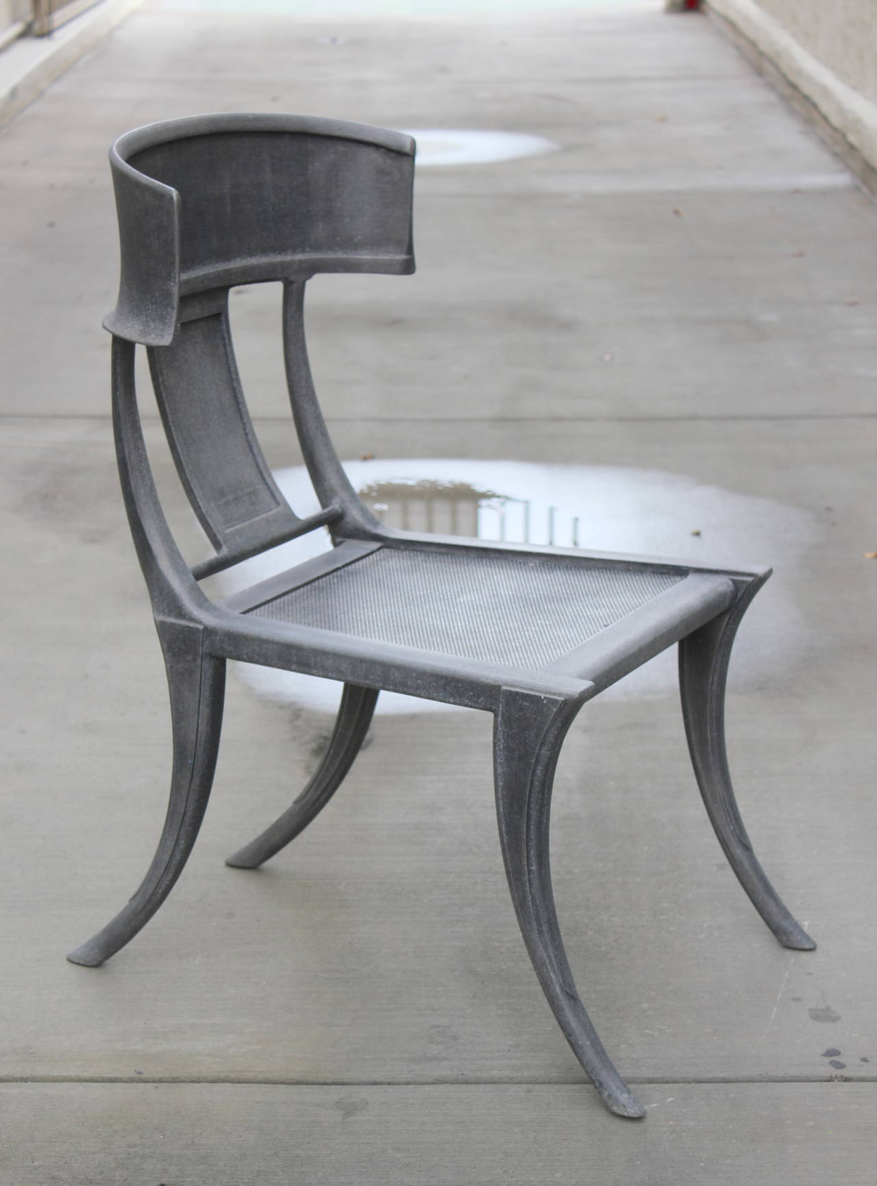 Pair Of Michael Taylor Cast Aluminum Klismos Chairs. Metal Mesh Seats.