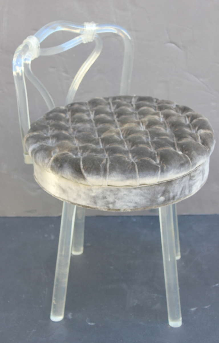 Lucite Swivel Vanity Stool At 1stdibs