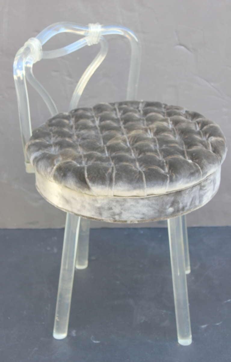 Lucite swivel vanity stool at 1stdibs
