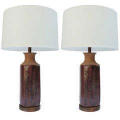 Pair of Brent Bennett Stoneware Table Lamps