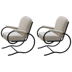 France, Pair of Bastian Spade Tubular Steel Chairs